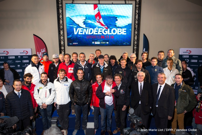Official skippers group picture during prestart of the Vendee Globe, in Les Sables d'Olonne, France on october 15th, 2016 - Photo jean-Marie Liot / DPPI